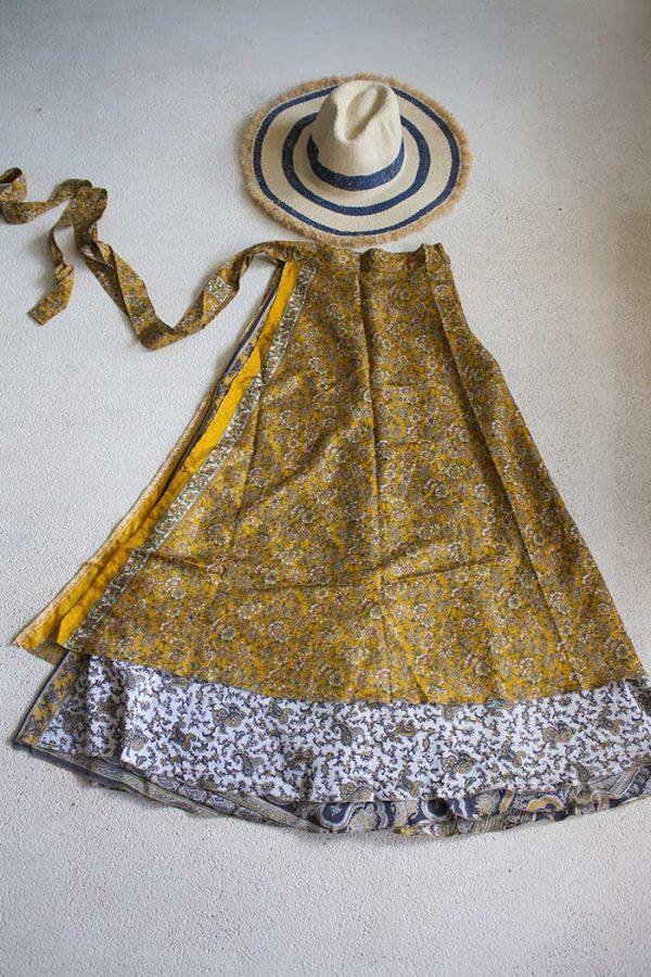 Gipsy bohemian sari wikkelrok geel wit blauw