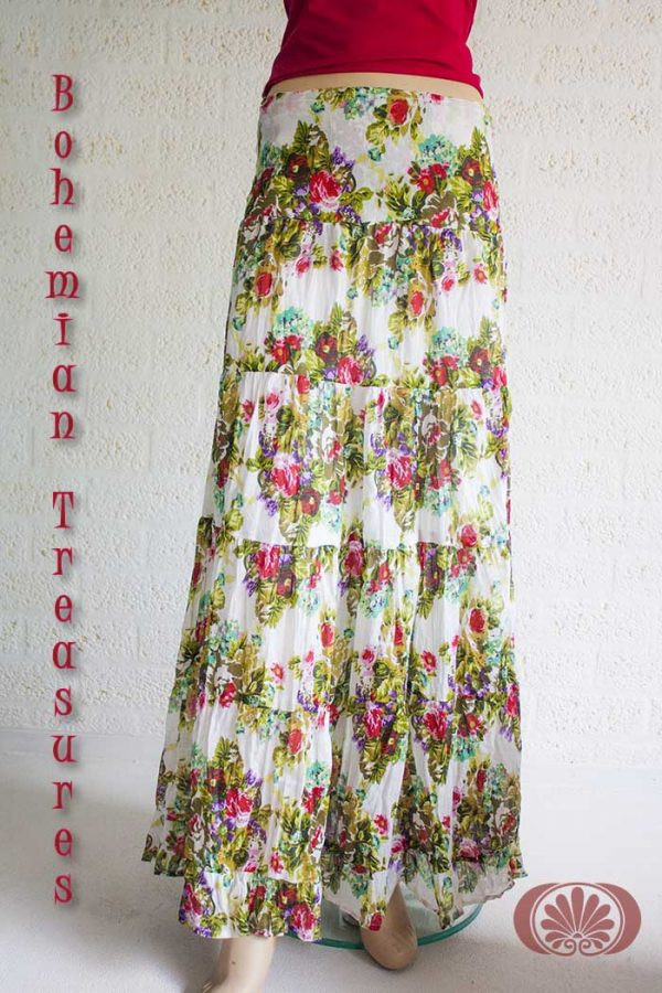 Romantic Gypsy tierer skirt creamy white with red roses