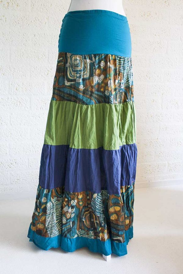 Gypsy zigeuner strokenrok lang blauw groen bruin