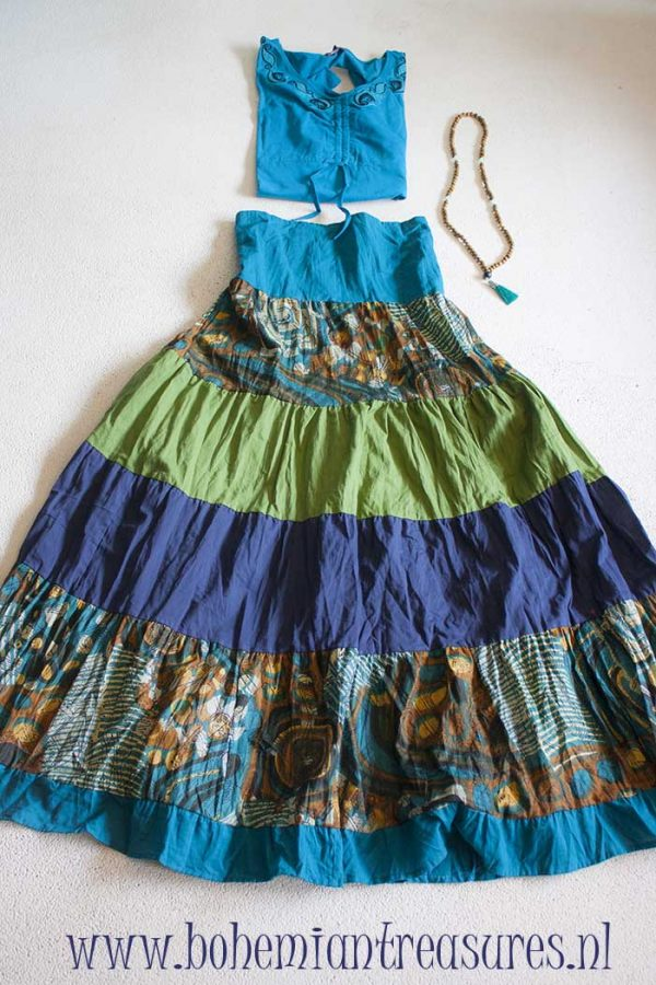 Gypsy boho long tierer skirt blue green purple