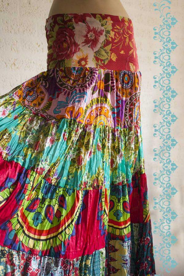 Gypsy zigeuner strokenrok lang multicolor