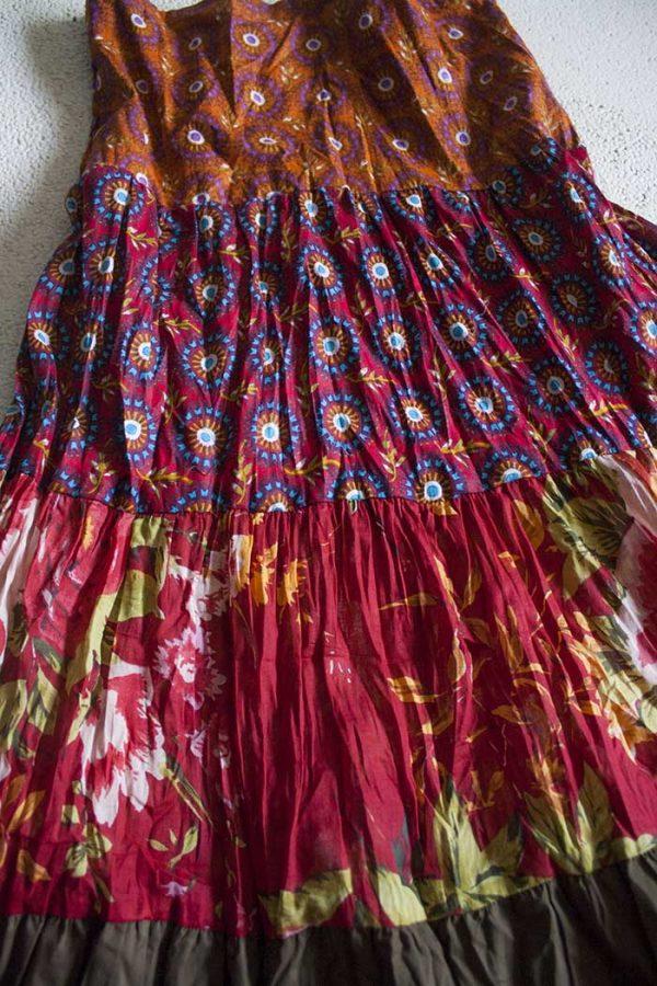 Gypsy zigeuner strokenrok lang terra legergroen rood