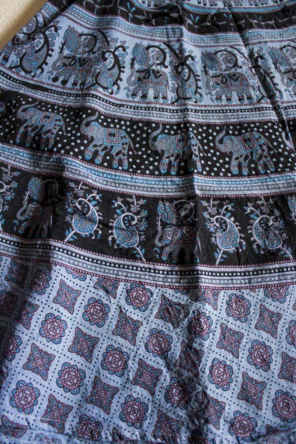 bohemian India wikkelrok katoen grijsblauw zwart en aqua