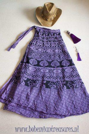 bohemian India wikkelrok katoen paars zwart