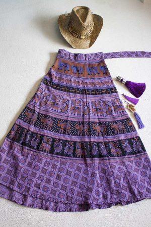 bohemian India wikkelrok katoen paars zwart camel
