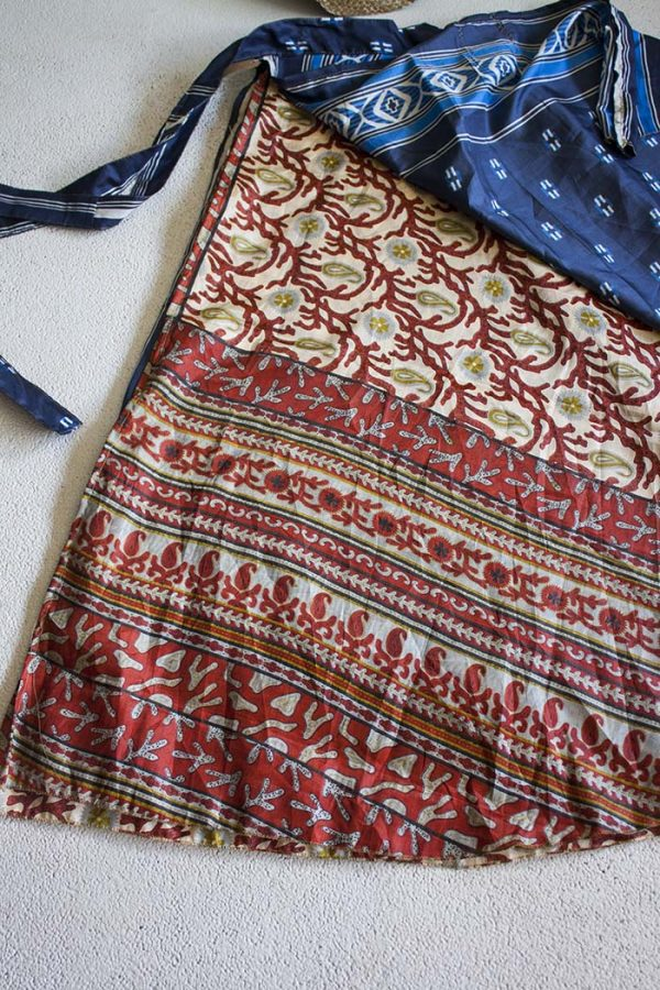 bohemian Indiase gypsy wikkelrok donkerblauw met terra