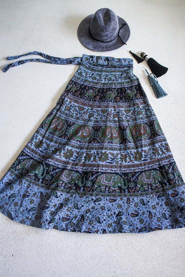 bohemian hippie wikkelrok katoen grijsblauw zwart en groen