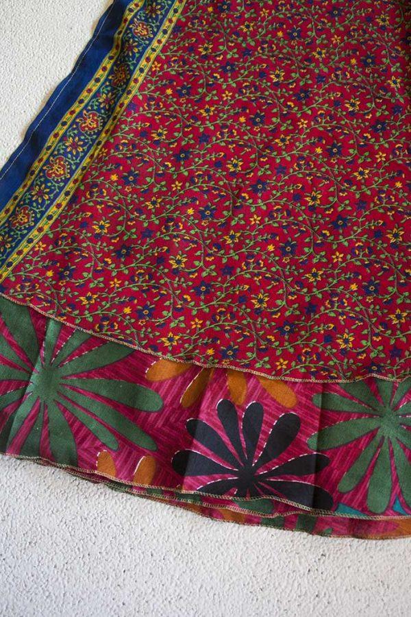 wikkelrok sari boho bohemian gipsy rood met bloemetjes