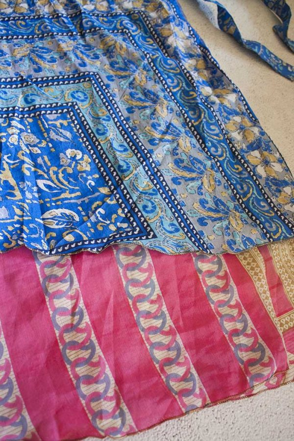 wikkelrok sari boho bohemian gypsy blauw roze