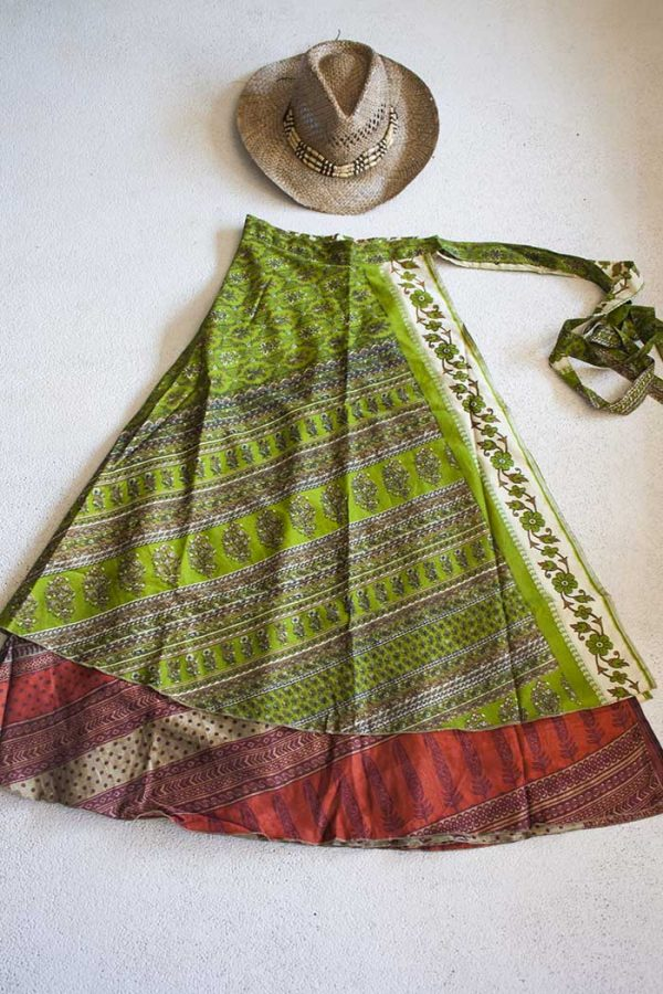 wikkelrok sari boho bohemian gypsy fel olijfgroen met terrabruin