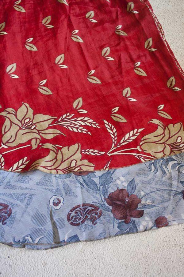 wikkelrok sari boho bohemian gypsy helder rood met beige en grijs