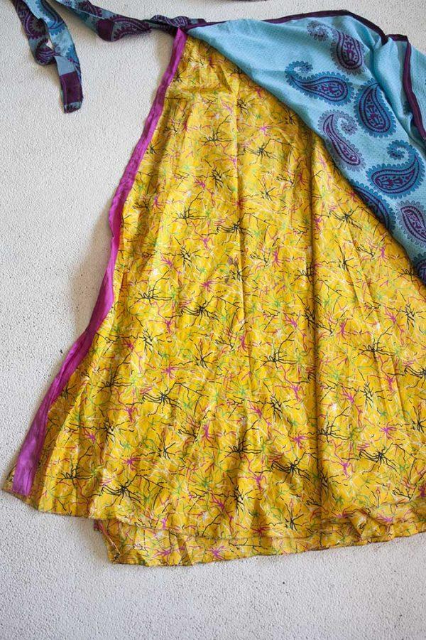wikkelrok sari boho bohemian gypsy lichtblauw met felgeel