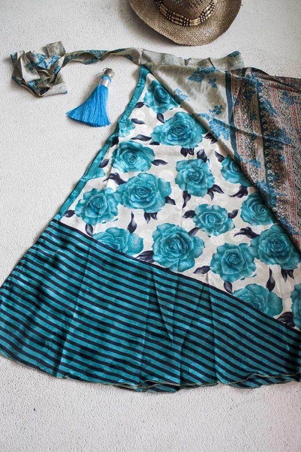 Gipsy bohemian sari wikkelrok beige met turqoise bloemen