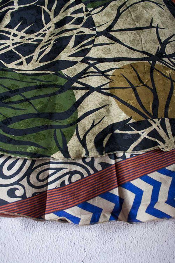 Gipsy bohemian sari wikkelrok beigebruin met zwart en groen
