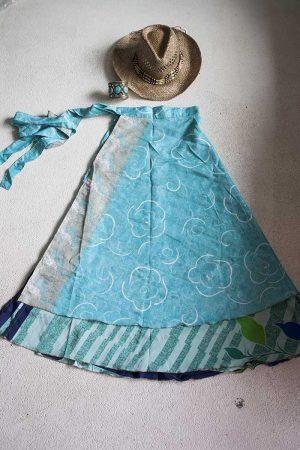 Gipsy bohemian sari wikkelrok licht turqoise met blauw