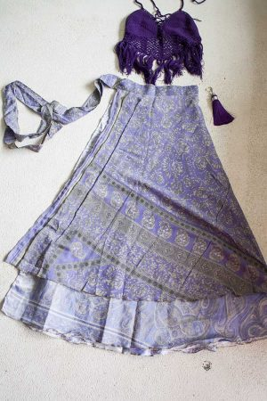 Gipsy bohemian sari wikkelrok lila paars