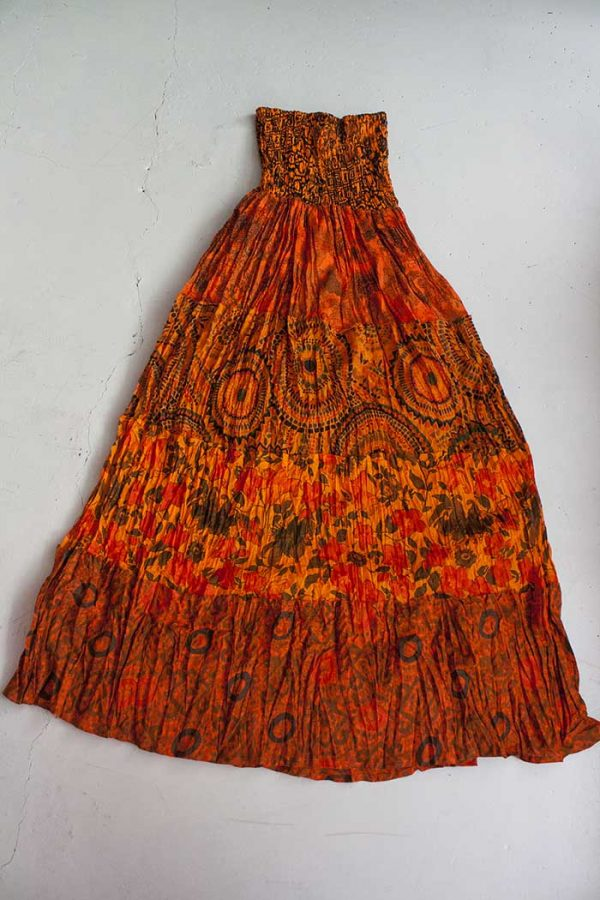Strokenrok oranje multifabric print