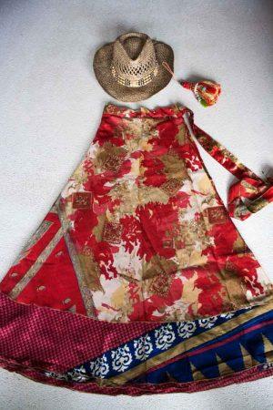 bohemian hippie gypsy wikkelrok rood met blauw