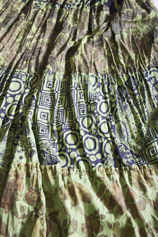 gipsy boho strokenrok groen multi print