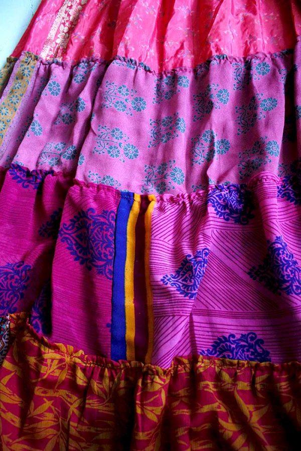 lange zigeunerrok boho sari roze
