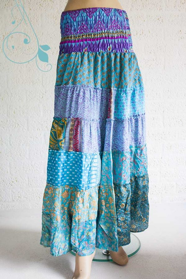 lange zigeunerrok boho sari turqoise blauw