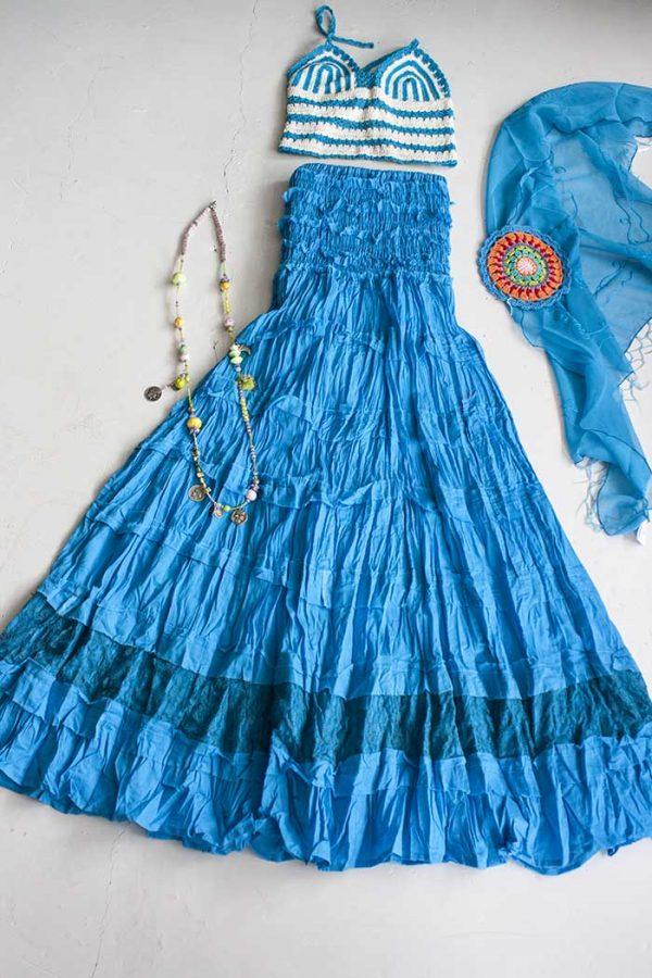 Gipsy strokenrok met kant helder turq blauw