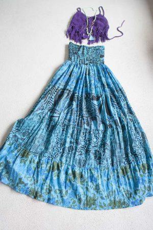 gipsy boho strokenrok blauw multi print