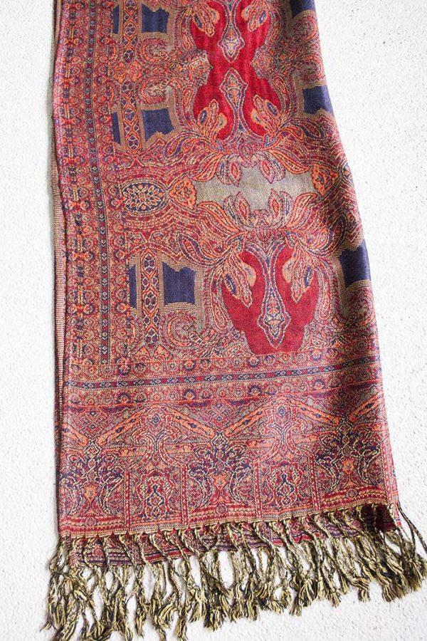pashmina sjaal dieprood met donkerpaars