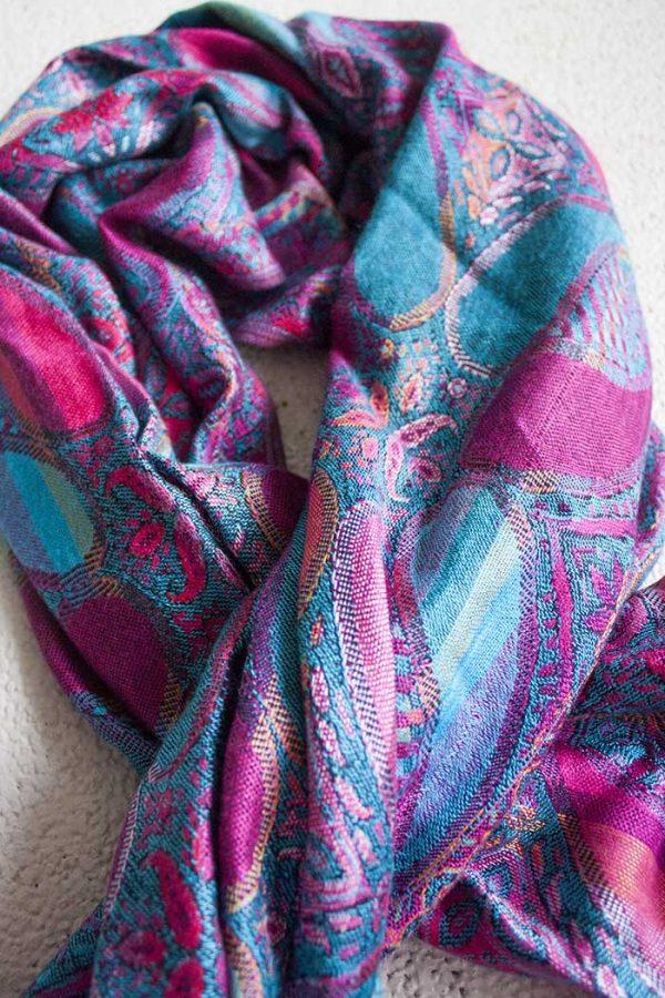 pashmina sjaal fel roze fel turqoise blauw
