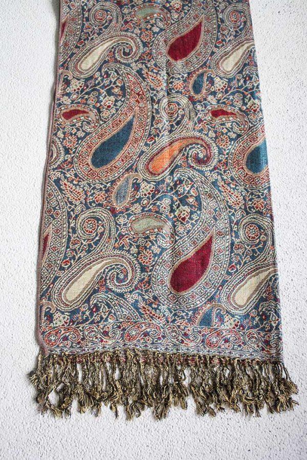 pashmina sjaal petrol rood zalm en roomwit