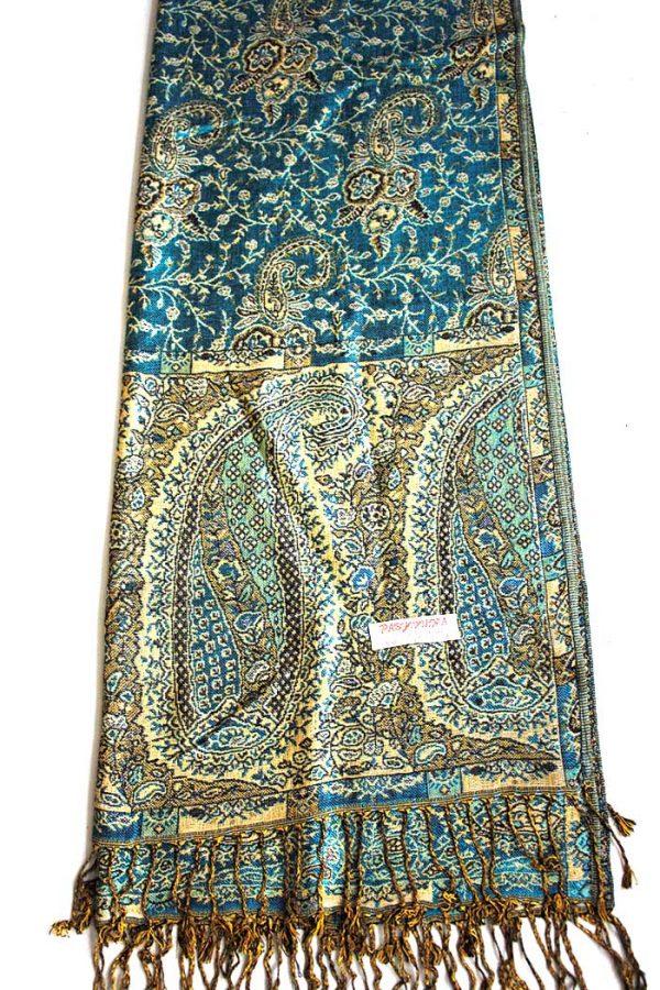 sjaal met franjes diep donkerturqoise met oosters motief