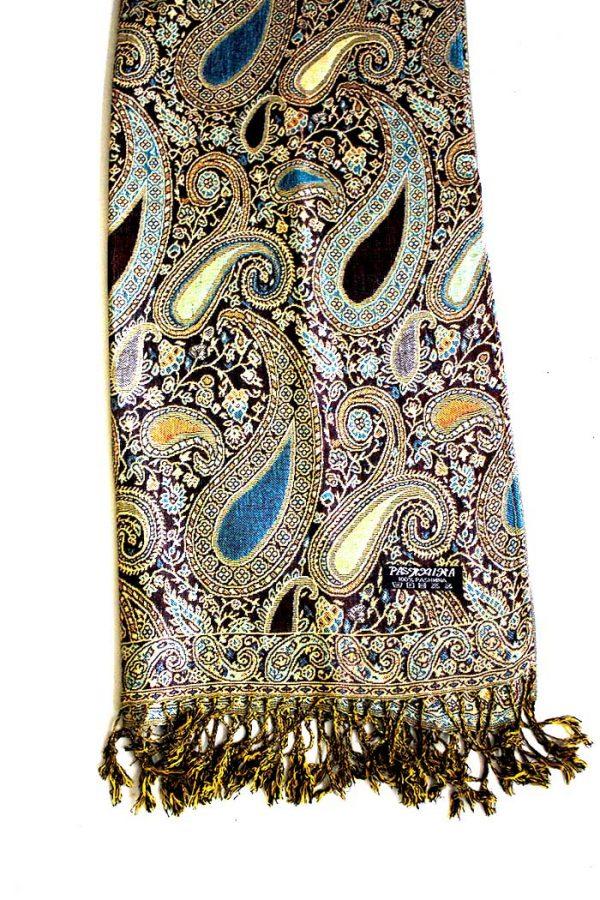 sjaal met franjes donker blauwgrijs met cashmere weaving