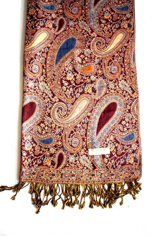 sjaal met franjes donker bruinrood met cashmere weaving