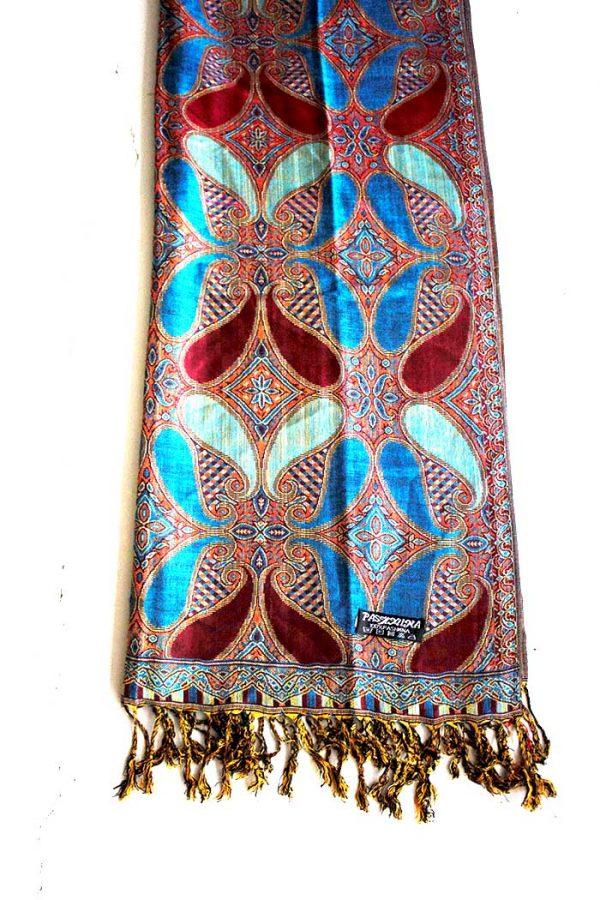 sjaal met franjes helderblauw met donker bruinrood