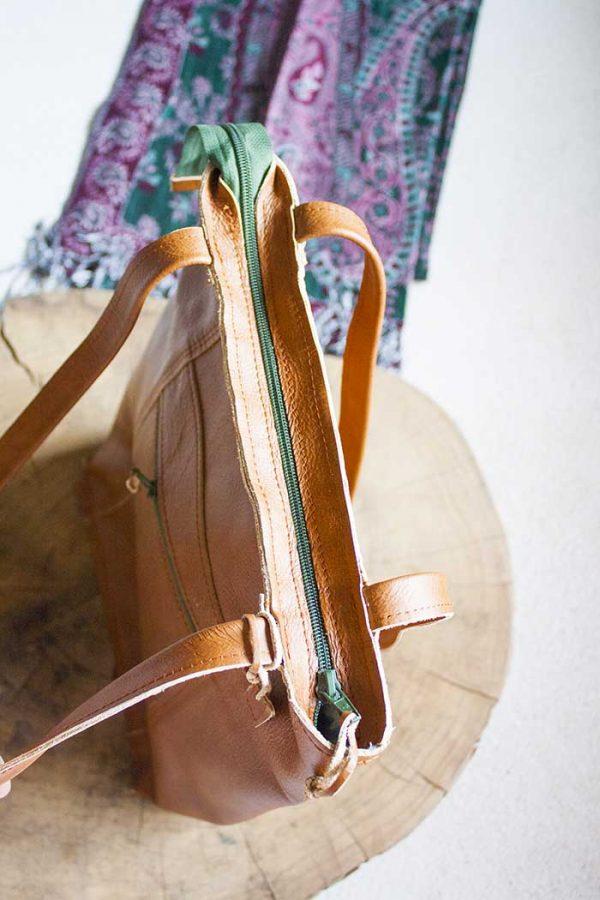 cognackleurige laptop tas handtas met rits en vakjes van Vlinderz