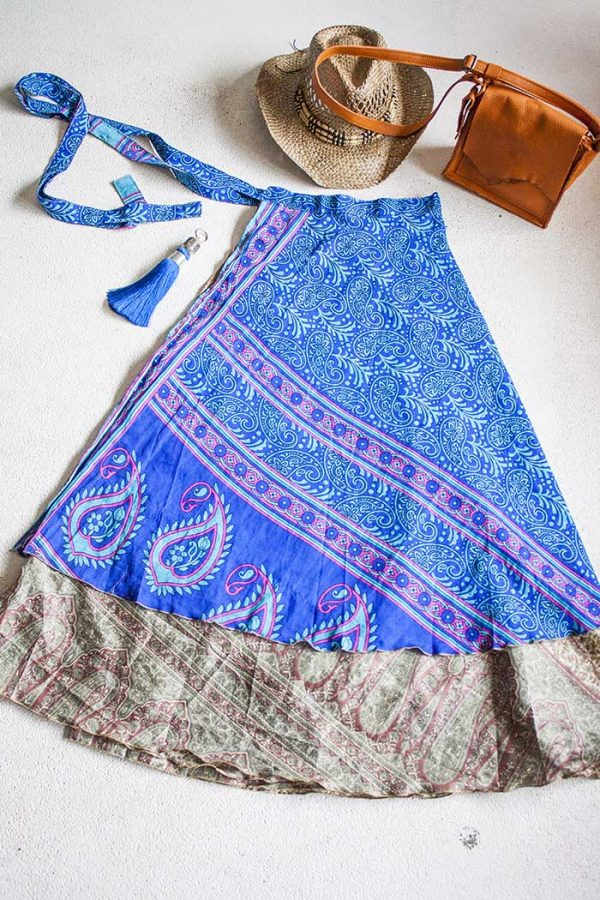 Boho gipsy magische wikkelrok blauw turqoise en terra