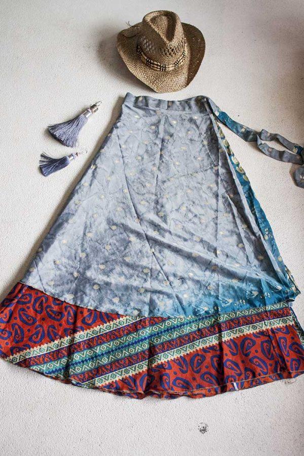 Boho gipsy magische wikkelrok grijs turqoise en rood