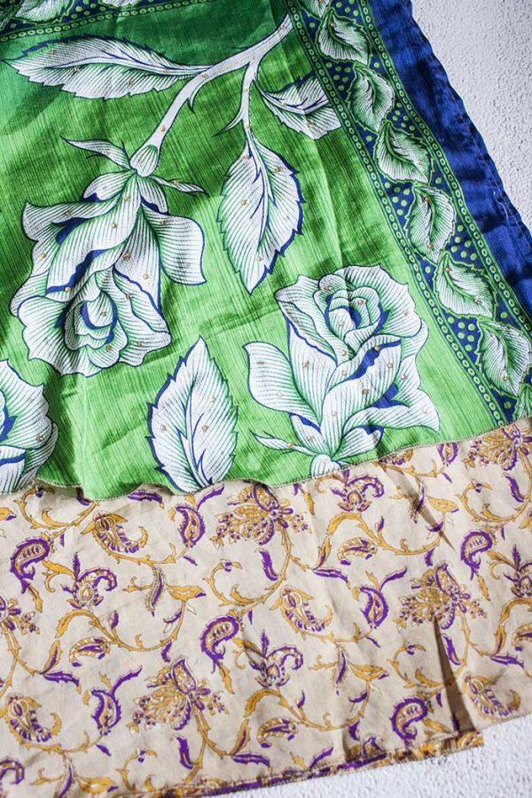 Boho gipsy magische wikkelrok groen wit en paars