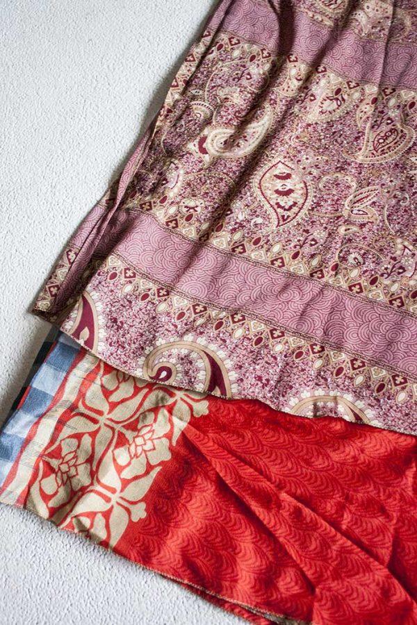 Boho gipsy magische wikkelrok sari licht aubergine met oranjerood