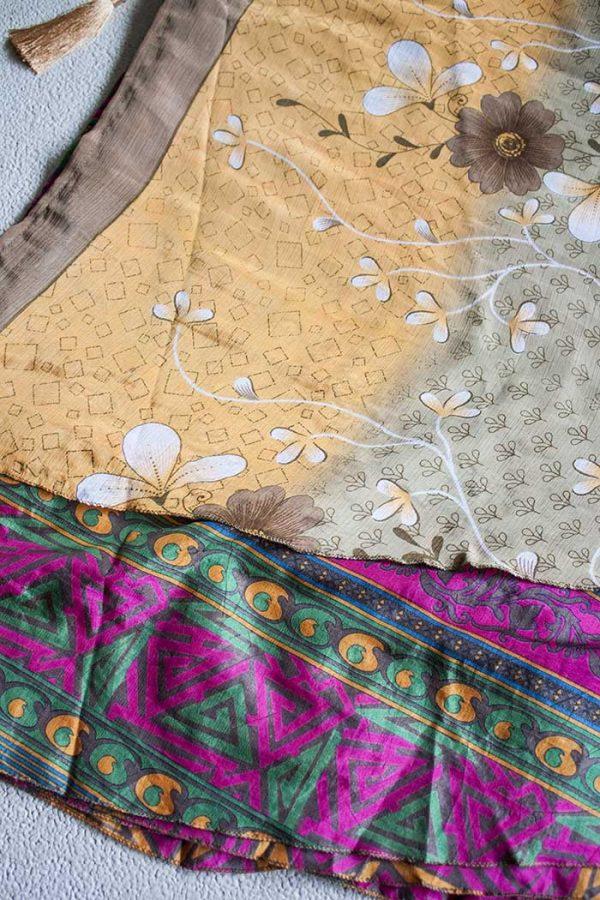 Boho gipsy magische wikkelrok sari licht oranje bruin roze