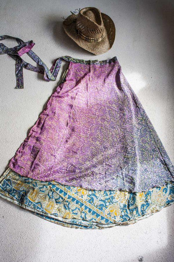 Magische sari wikkelrok  laags roze grijs en aqua turqoise