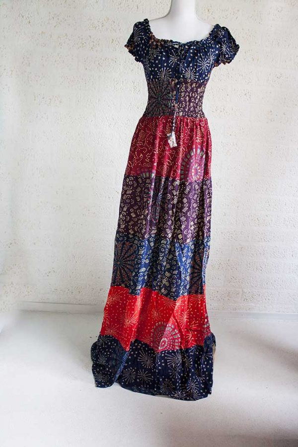 lange jurk stroken burlesque gipsy donkerblauw rood terra