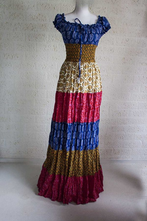 lange jurk stroken burlesque gipsy rood blauw honing