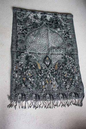 sjaal  wol zwart grijs met borduursel