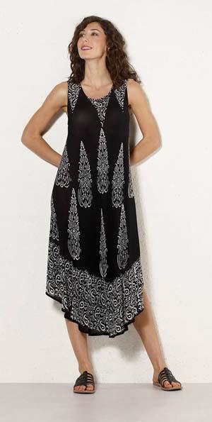 Crepe jurk tuniek viscose zwart met witte oosterse print