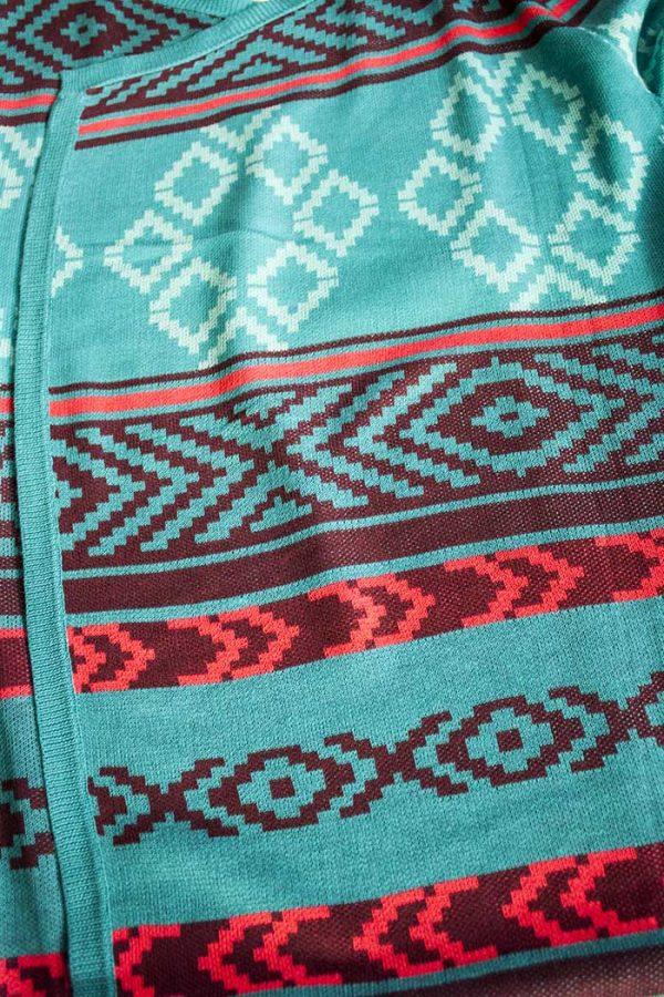 Lang vest acryl turqoise met tribal strepen