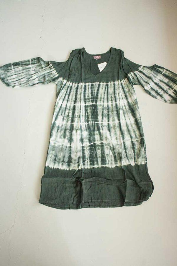 Rayon jurk tuniek tie dye open mouwen
