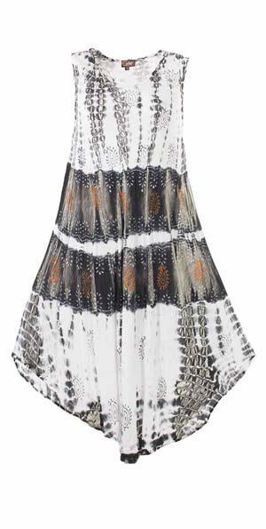 Tie dye viscose crépe jurk tuniek zwart grijs bruin