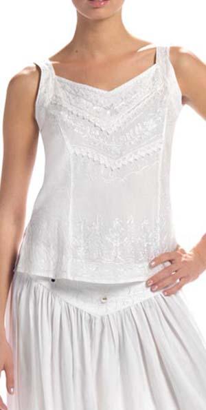 Top wit met embroidery brede shouderbanden