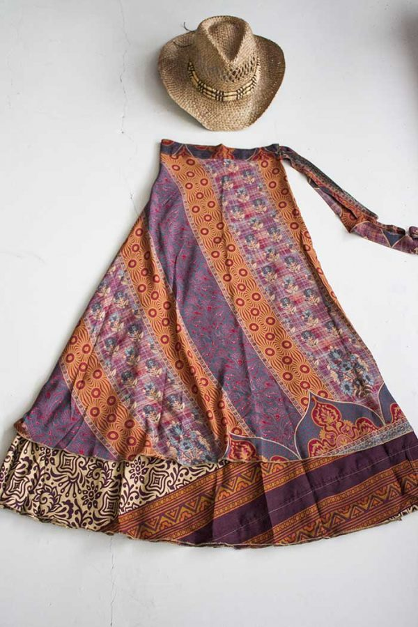 gypsy wikkelrok sari  laags blauw rood oker en aubergine paar s